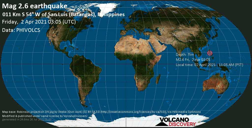 Quake info: Weak mag. 2.6 earthquake - South China Sea. 13 km southwest of Taal. Batangas. Calabarzon. Philippines. on 02 April 2021 - 11:05 AM ...