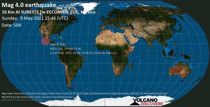 Moderate mag. 4.0 earthquake - 17 km south of Tecoman, Colima, Mexico, on 2021-05-09 10:46:01 (Hora de México)