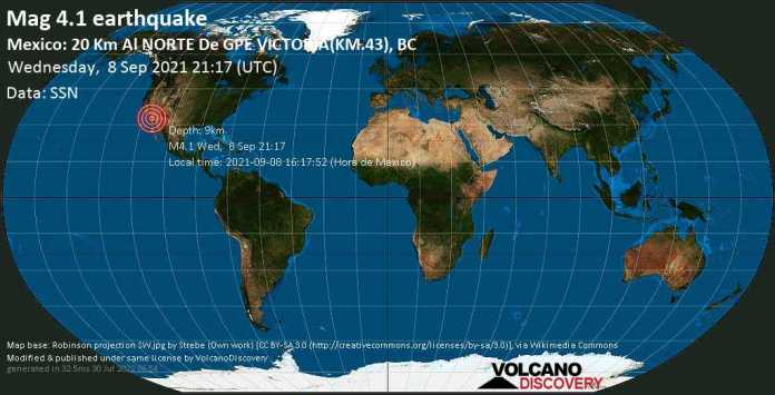 Moderate mag. 4.1 earthquake - 37 km southeast of Mexicali, Baja California, Mexico, on Wednesday, Sep 8, 2021 2:17 pm (GMT -7)