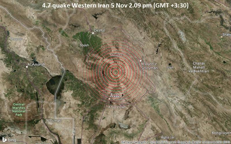 4.7 quake Western Iran 5 Nov 2.09 pm (GMT +3:30)