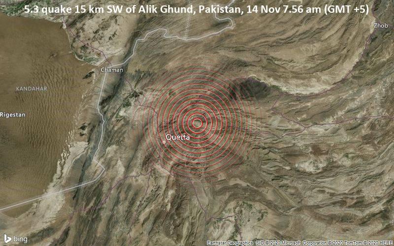5.3 quake 15 km SW of Alik Ghund, Pakistan, 14 Nov 7.56 am (GMT +5)