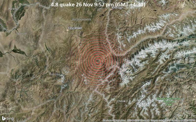 4.8 quake 26 Nov 9:57 pm (GMT +4:30)
