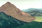 Illustration of a landslide from a volcano