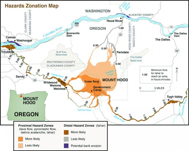 Hazards map for Mount Hood including likelihood of impact for proximal (close) and distal (farther) hazards zones and lahar travel times.  (Click image to view full size.)