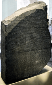 The Rosetta Stone is a granodiorite stele, found in 1799, inscribed with three versions of a decree issued at Memphis, Egypt in 196 BC. This inscription was the key to deciphering Egyptian hieroglyphs. (© Hans Hillewaert, wikipedia)