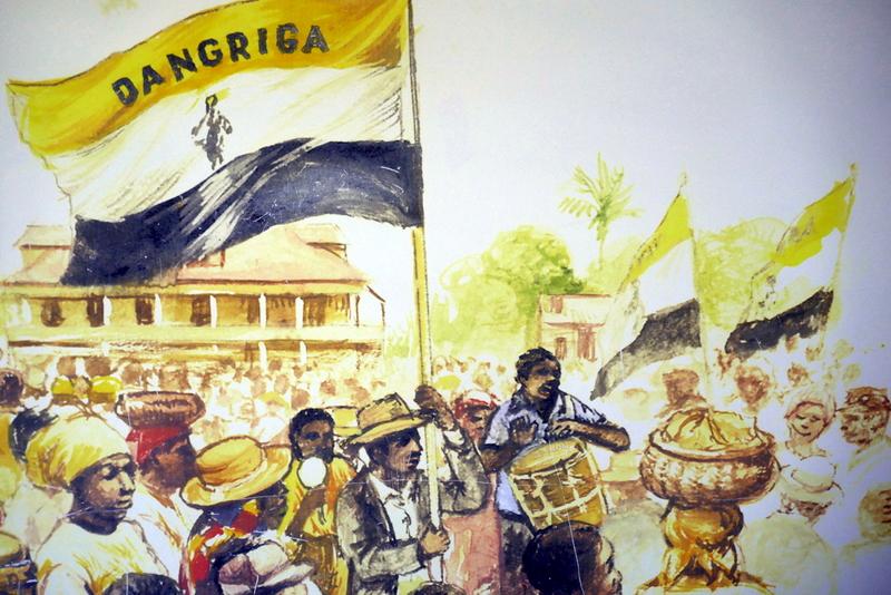A drawing of Garifuna in Dangriga, as exhibited in the Gulisi Garifuna Museum.