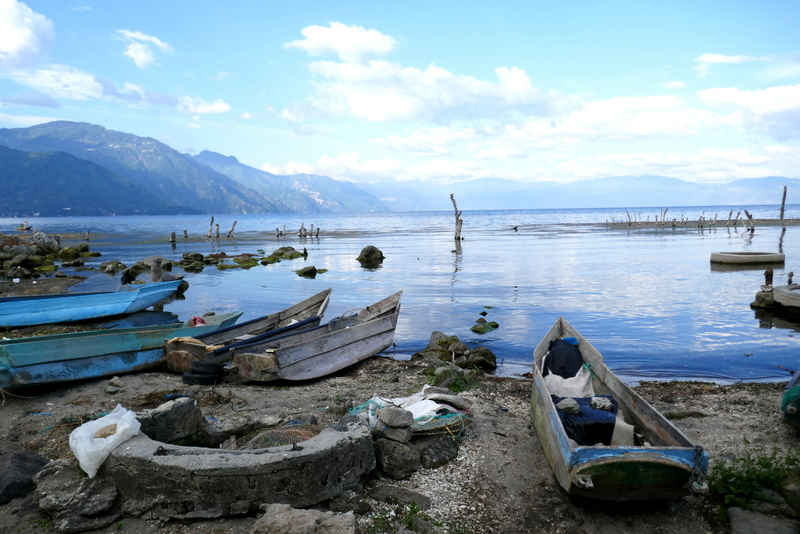 Canoes on the shores of Lake Atitlán in San Pedro