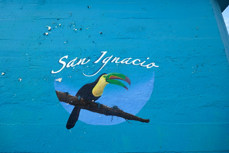 San Ignacio sign with toucan near Hawkesworth Bridge in San Ignacio, Belize