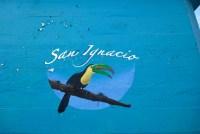 San Ignacio sign with toucan near Hawkesworth Bridge in San Ignacio, Belize