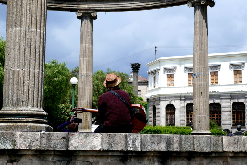 A street musician on Xela's Parque Central.