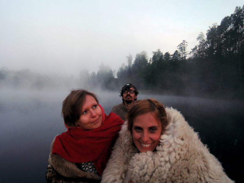 Anete and friends on a canoe during midsummer in Estonia