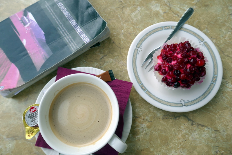 Coffee, cranberry cake and Kerouac on the terrace of Wironia Hotell Jõhvi.