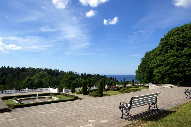 Bench in Oru Park, Toila, Estonia.