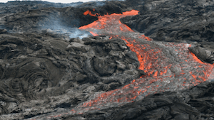 Lava channel and fissure on Pu`u `O`o eastern slope