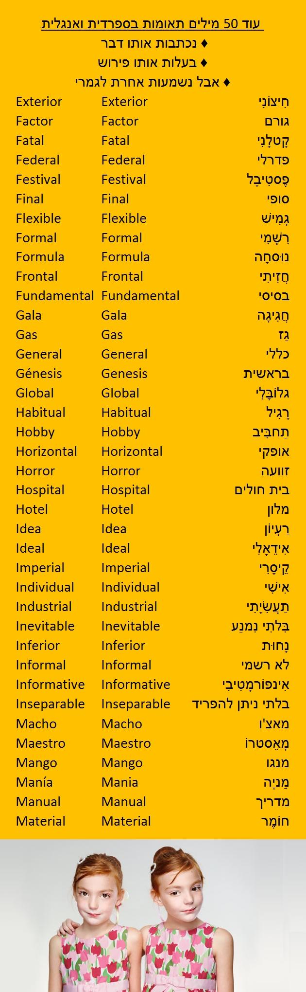 ללמוד ספרדית מילון ספרדית עברית