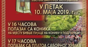 Iz Podgorice hodočašće Svetom Vasiliju Ostroškom