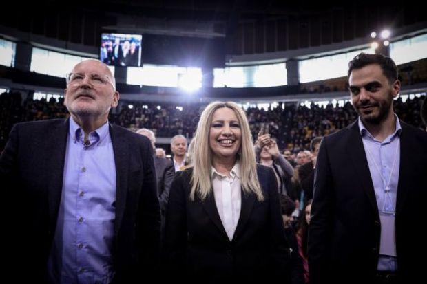 Από αριστερά: Φράνς Τίμμερμανς, Φώφη Γεννηματά και Μανώλης Χριστοδουλάκης