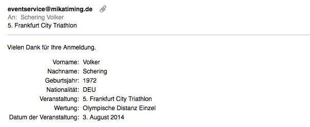 Anmeldung Frankfurt Triathlon
