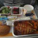 Hähnchen, Kürbis, Kartoffelpüree - Lufthansa hinflug New York