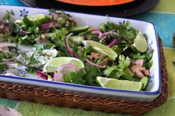 """Ein Menü mit Ossobuco, Oktopus und Mango-Papaya-Salat - nach """"Hayas Küche"""" von Haya Molcho"""