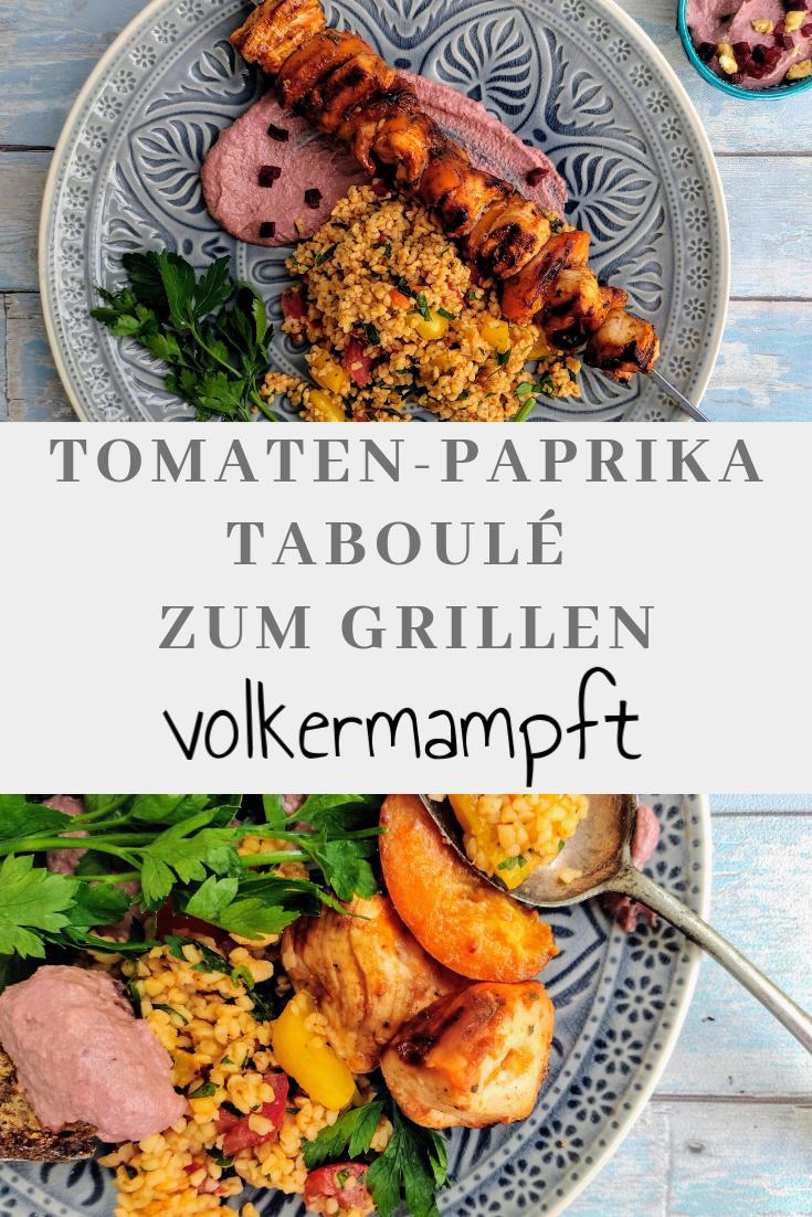 Hähnchen-Aprikosen-Spieß vom Grill mit Tomaten-Paprika Taboulé