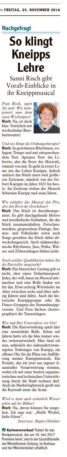 """MINDELHEIMER ZEITUNG: Interview mit Sanni Risch zum """"VolksMusical KNEIPP"""""""
