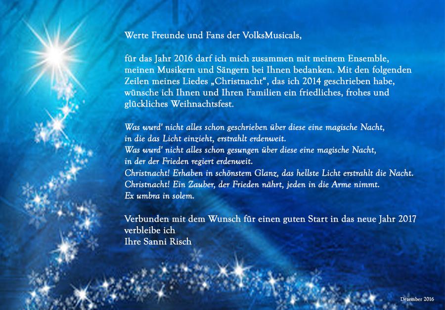 Weihnachtswünsche der VolksMusicals und Sanni Risch