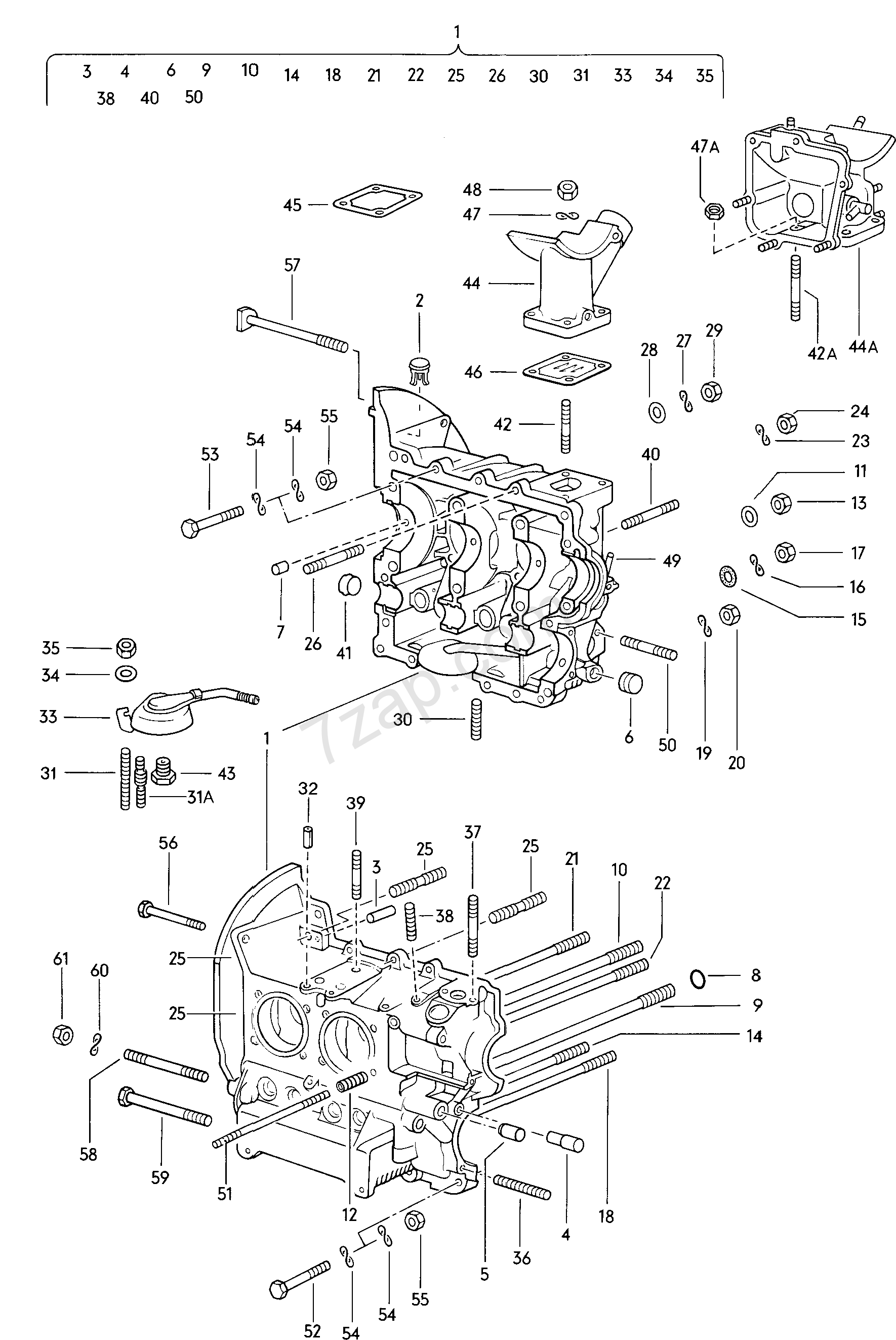 mounting parts for engine and transmission VW 1200/1300