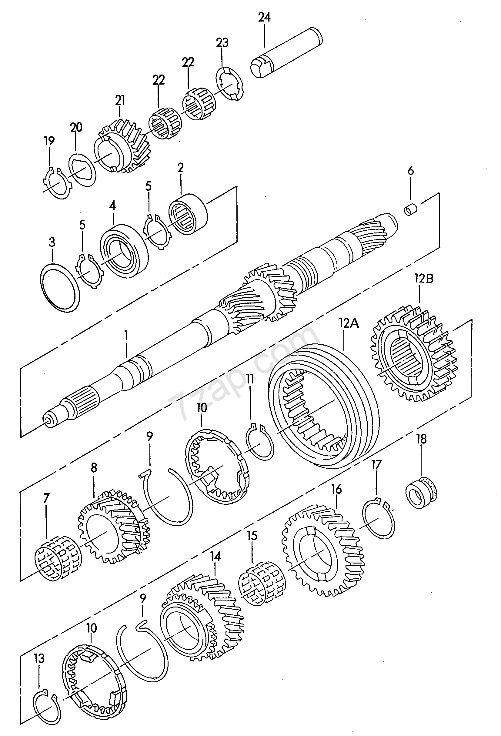 input shaft; gears and shafts; for 5 speed manual