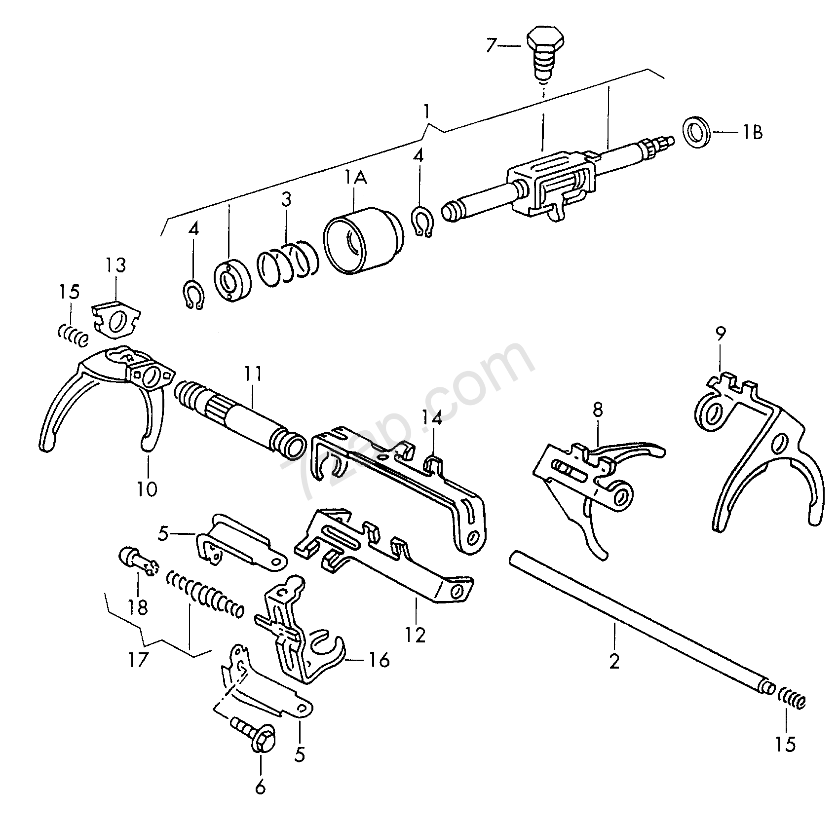 shift rod; selector shaft; selector fork; for 5 sp... Polo