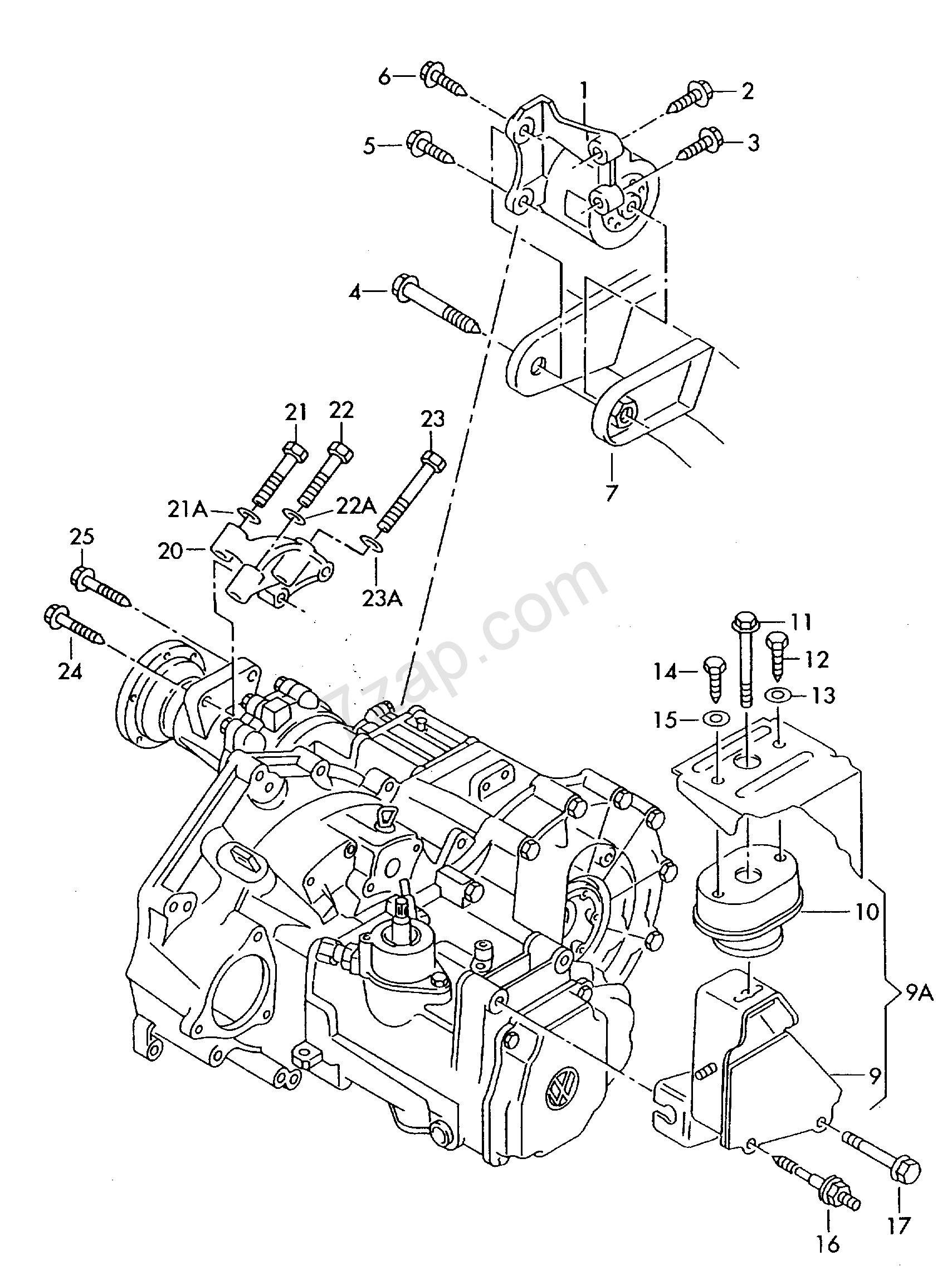transmission securing parts; 5-speed manual transm