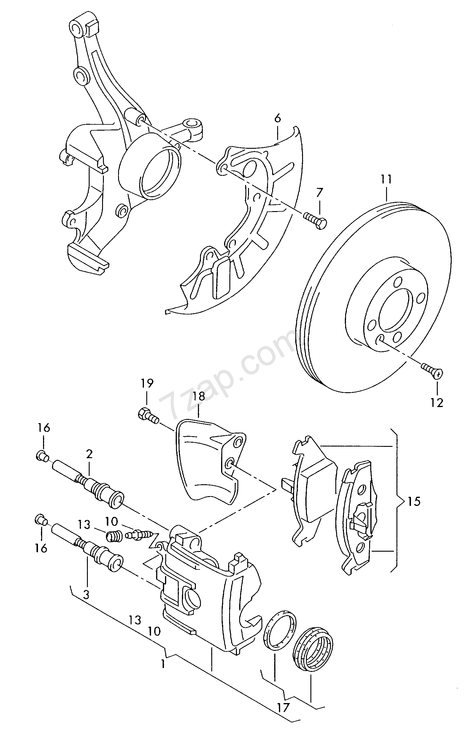 floating caliper brake; brake caliper housing; bra... Polo