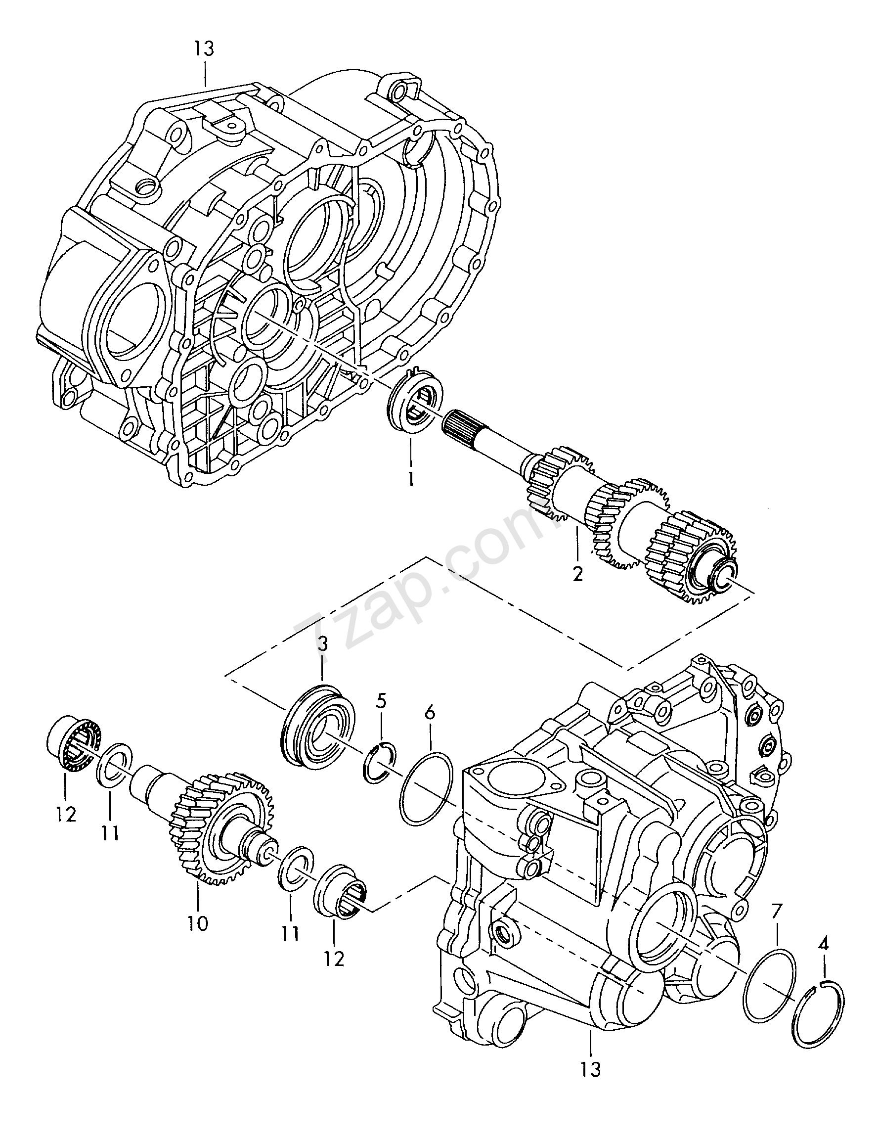 gears and shafts; input shaft; for 6 speed manual