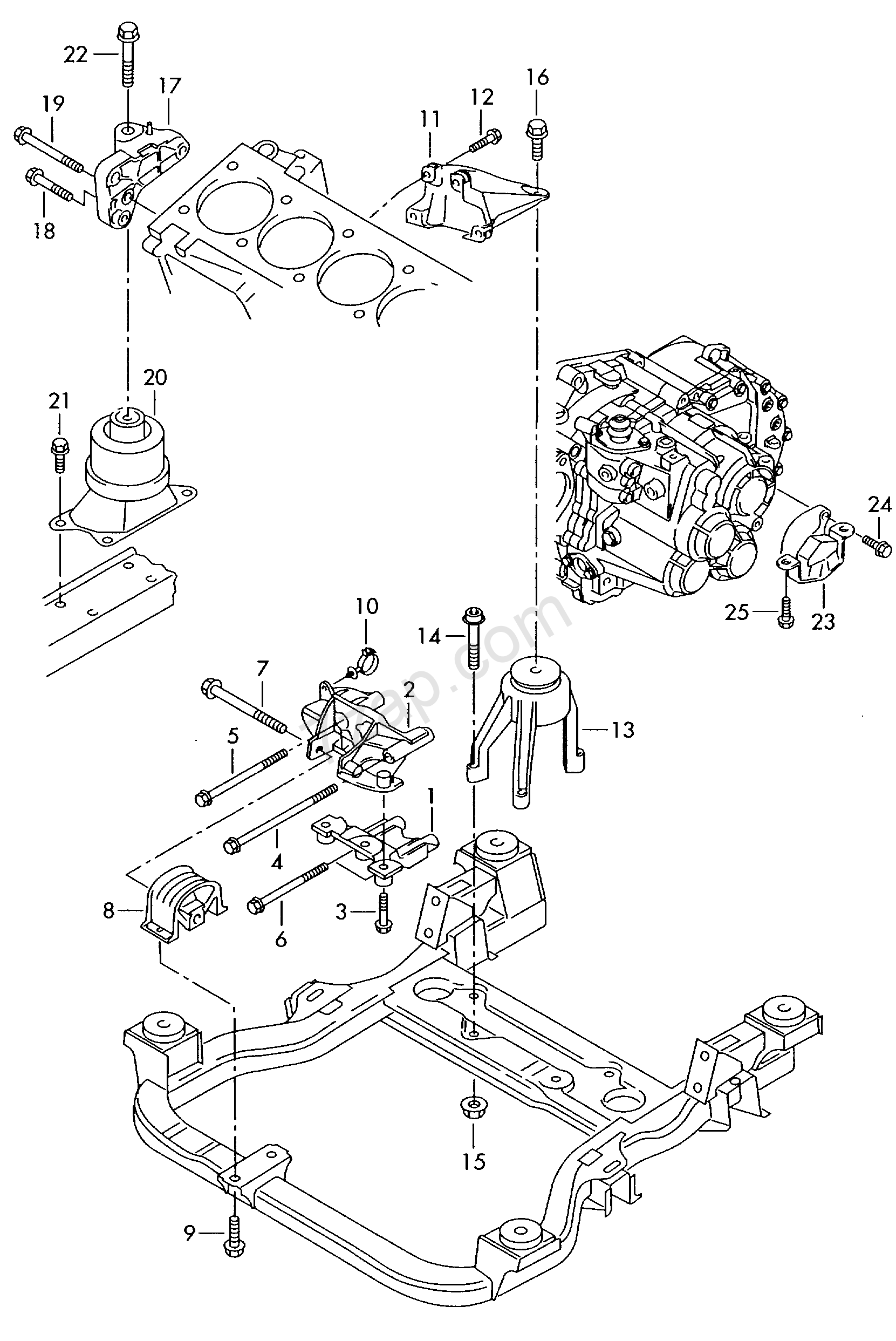mounting parts for engine and transmission Transporter (TR