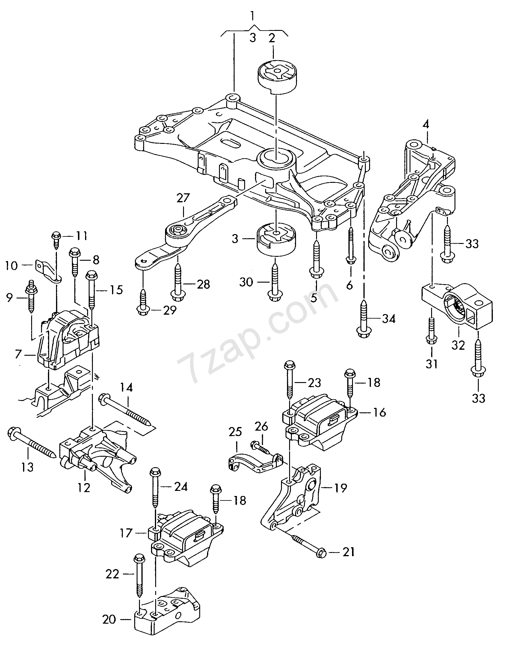 Mounting Parts For Engine And Transmission Bora Bo