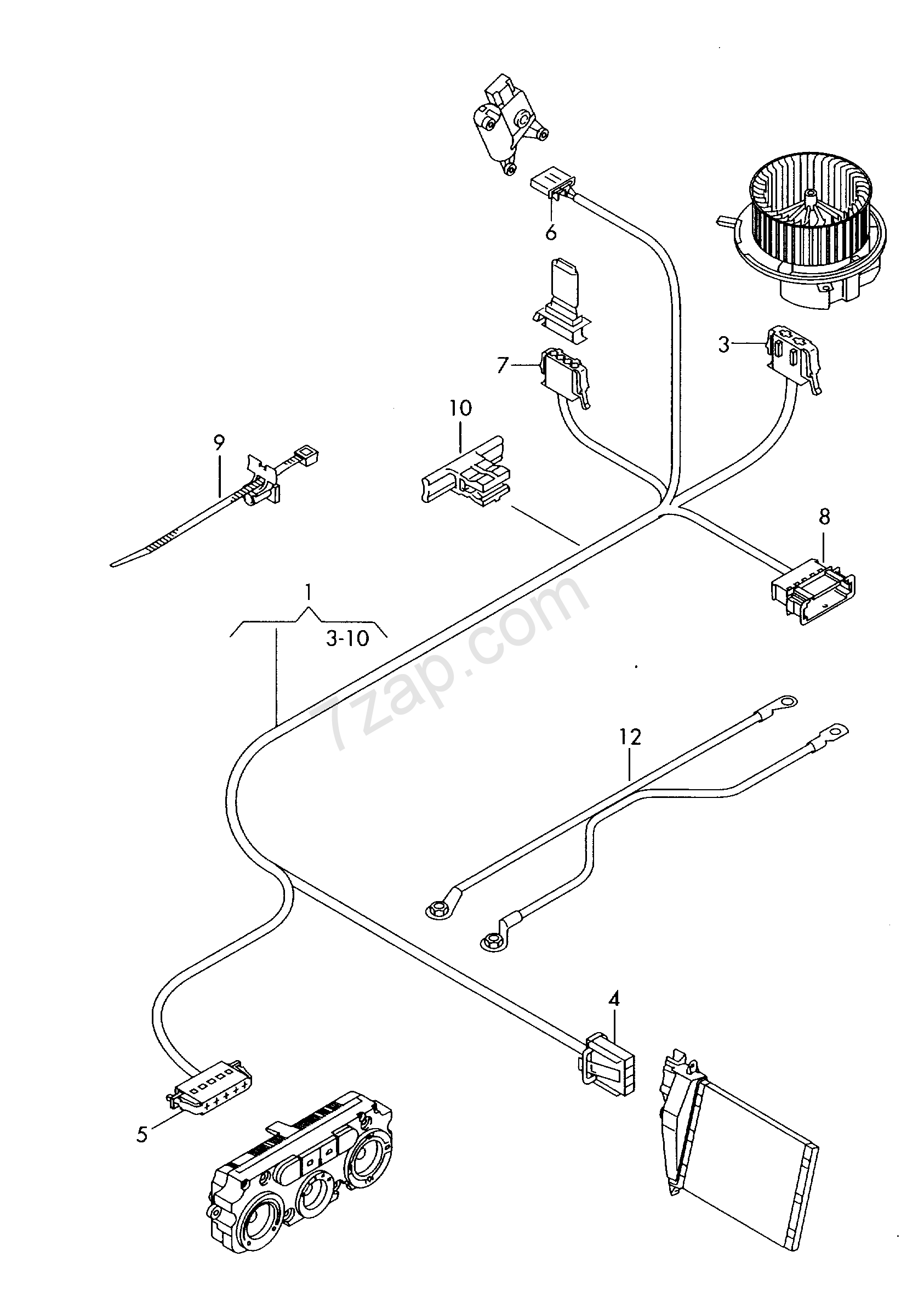 wiring harness for additional heater unit Caddy (CA) 2012