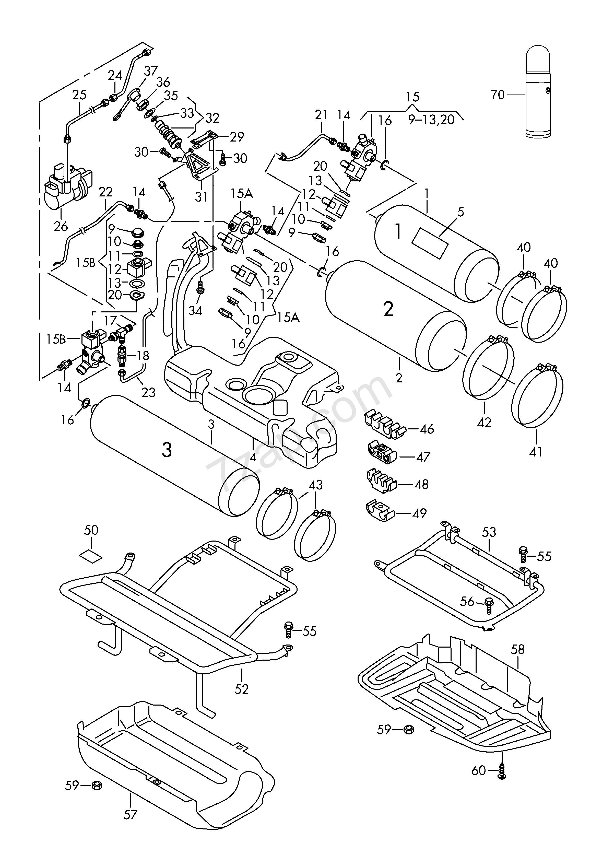 gas supply system; gas bottle; retainer for gas bo