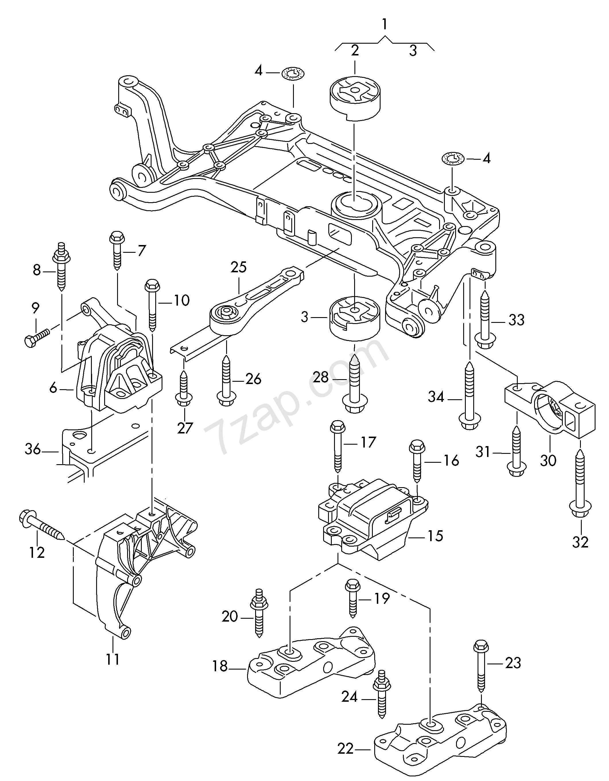 mounting parts for engine and transmission Sharan/syncro
