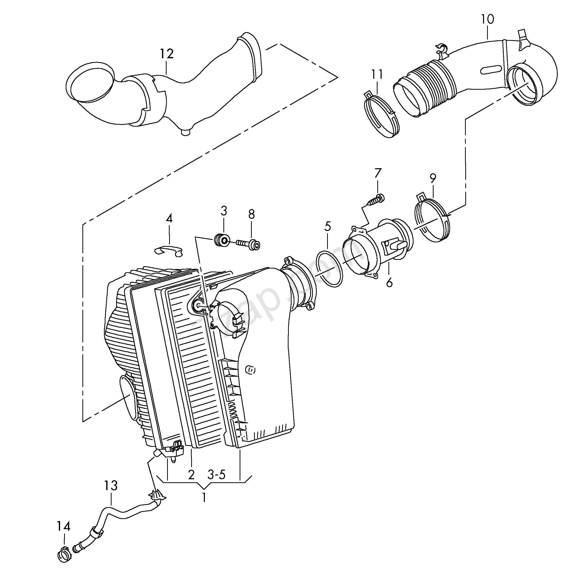 Air Filter With Connecting Parts Touareg Toua Year