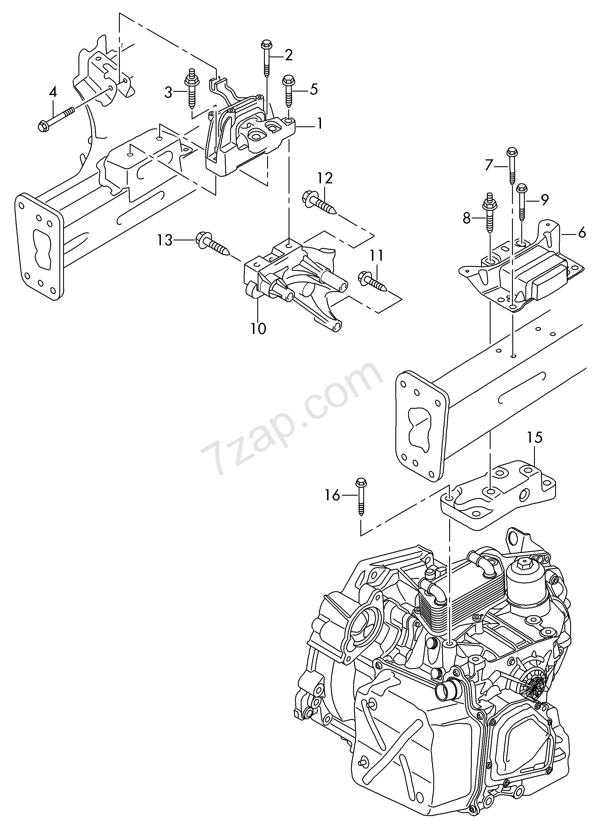 mounting parts for engine and transmission Golf/Variant