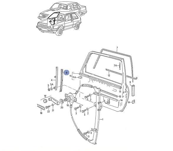 PROWADNICA SZYBY PRZÓD DÓŁ VW GOLF JETTA II MK2 Volkswagen