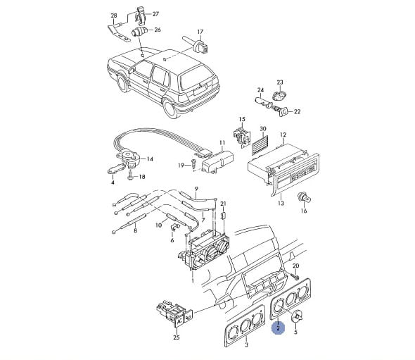 PANEL OSŁONA WENTYLACJI VW GOLF MK3 VENTO THERMOTRONIC