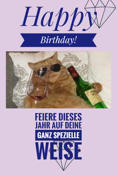 Feierst du deinen Geburtstag so wie diese Katze? Dann prost!🍷