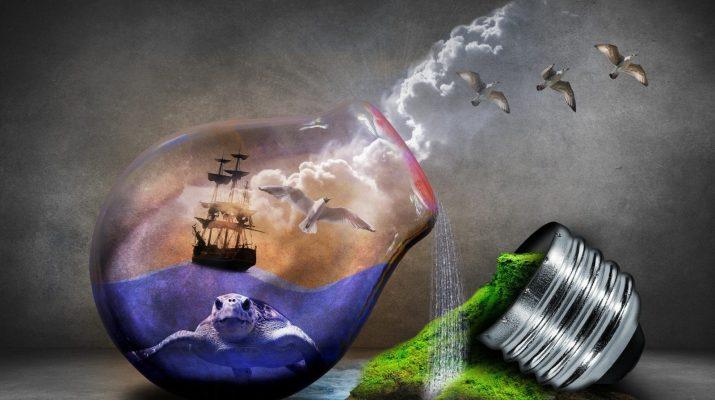 Symbolbild Glühbirne und Umwelt