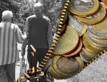 Renterpaar und Geldbörse mit Kleingeld