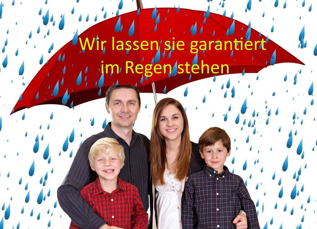 Familie im Regen