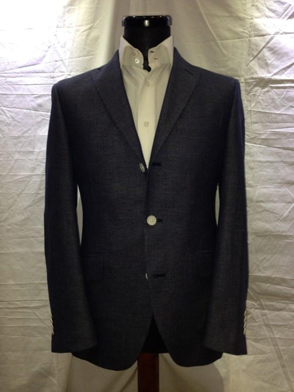Blue cotton / linen airtex unlined jacket with elbow patch (66% cotton / 34% linen)