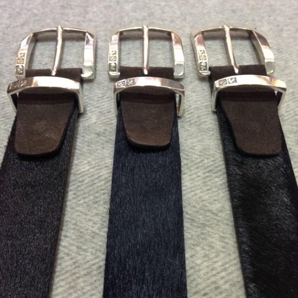 Dark Brown, Navy Blue and Black Pony skin belts with Dark Brown suede