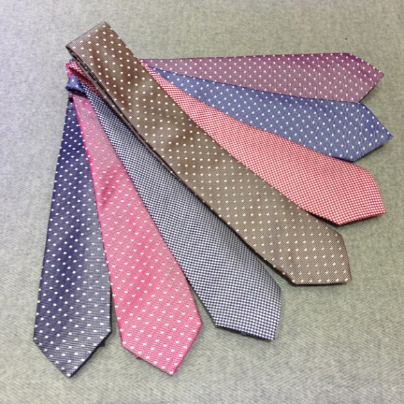 A selection of spotted Silk ties