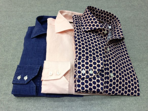 Navy Blue & Orange Circles alongside Denim Blue and Peach Linen Shirts (100% Linen)